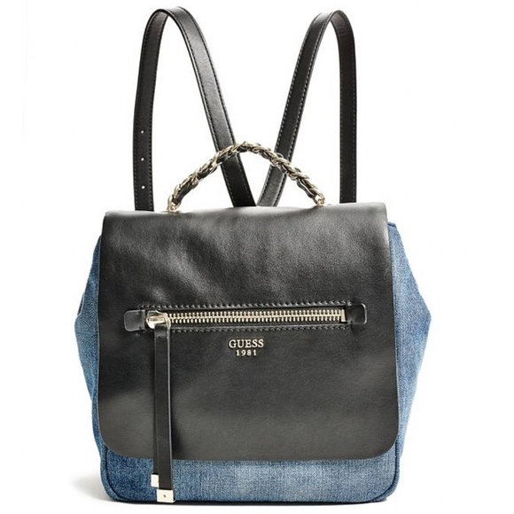 Guess Handbags - GUESS Sammie Small Denim   Leather Backpack 84eac85c2badf